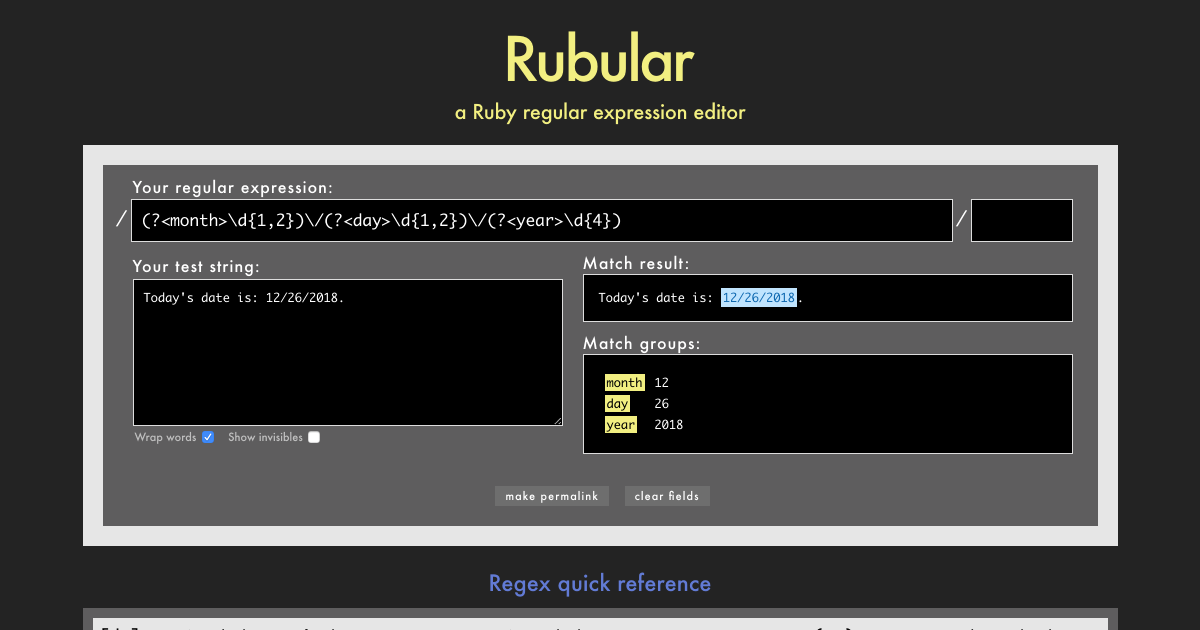 Rubular: a Ruby regular expression editor